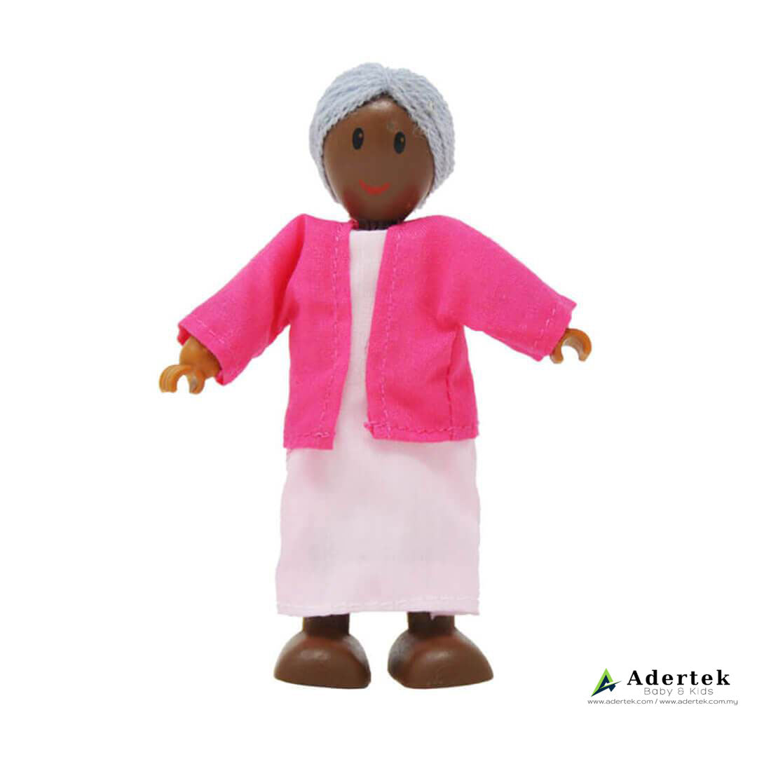 Happy Family Doll Set for Dolls Wooden Playhouse - African grandmother