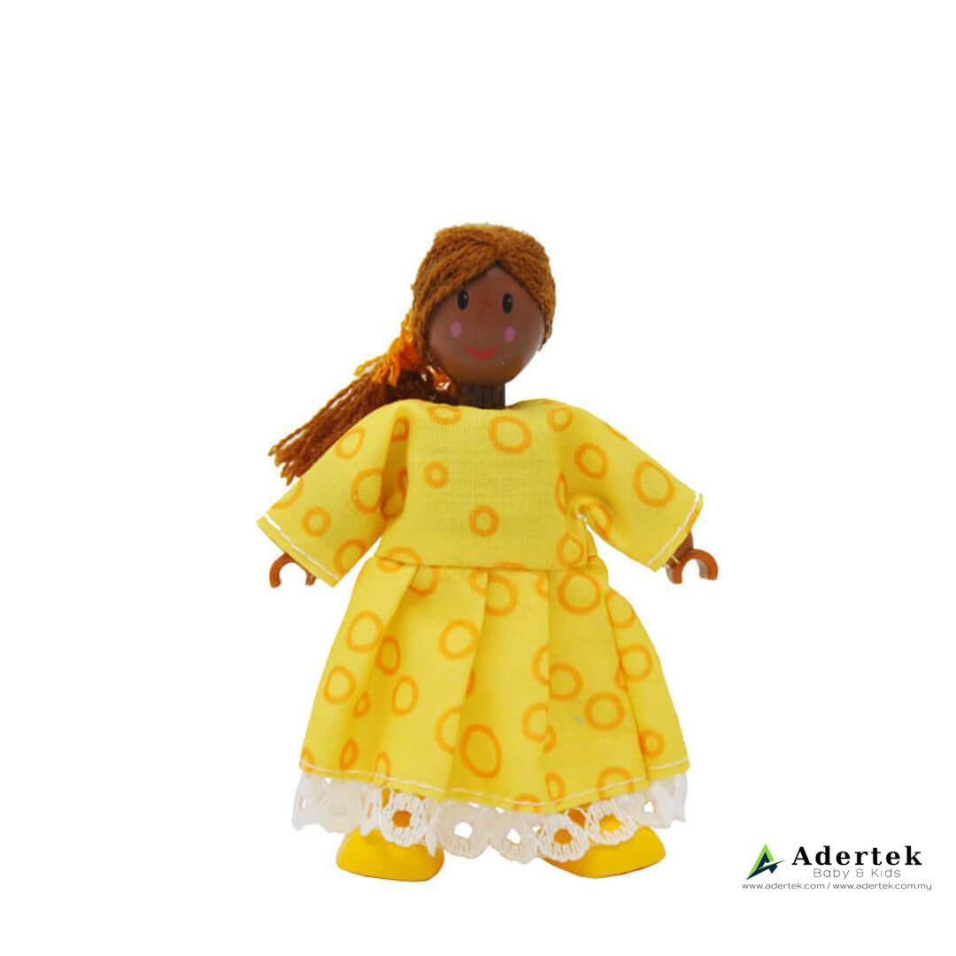 Happy Family Doll Set for Dolls Wooden Playhouse - African sister