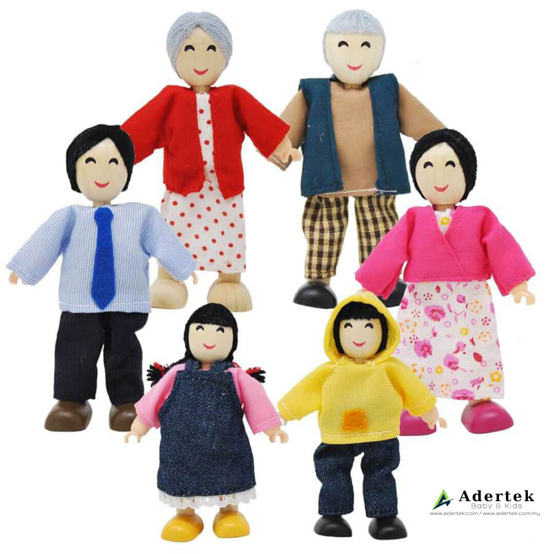 Asian Happy Family Doll Set for Dolls Wooden Playhouse