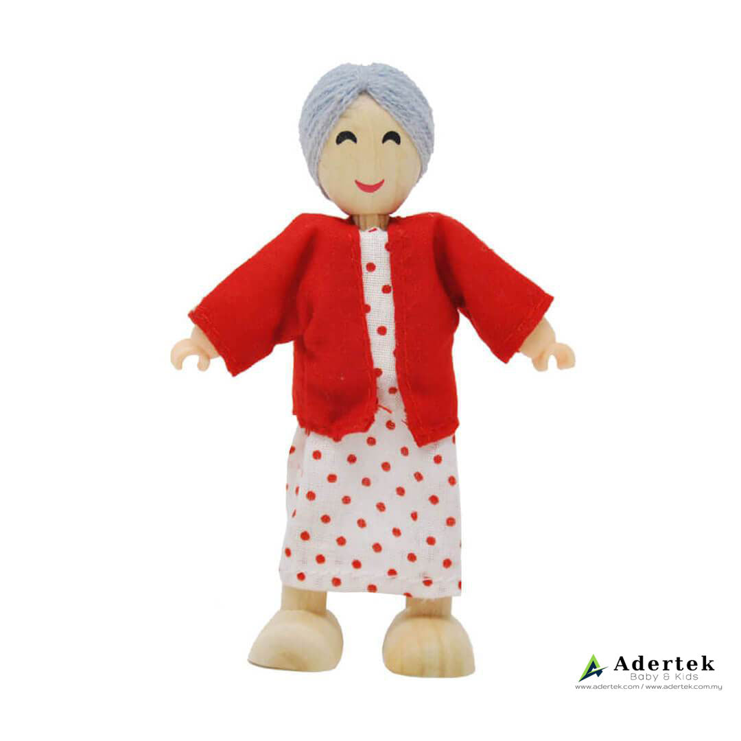 Happy Family Doll Set for Dolls Wooden Playhouse - Asian grandmother