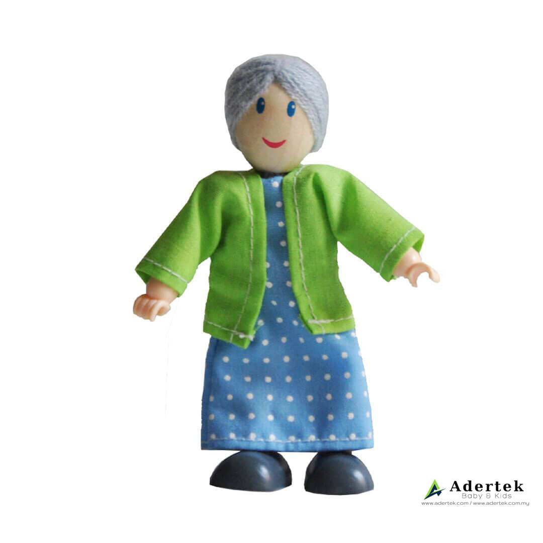 Happy Family Doll Set for Dolls Wooden Playhouse - Caucasian Grandmother
