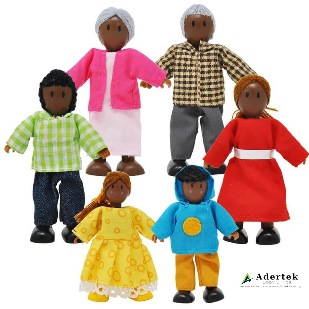 African Happy Family Doll Set for Dolls Wooden Playhouse