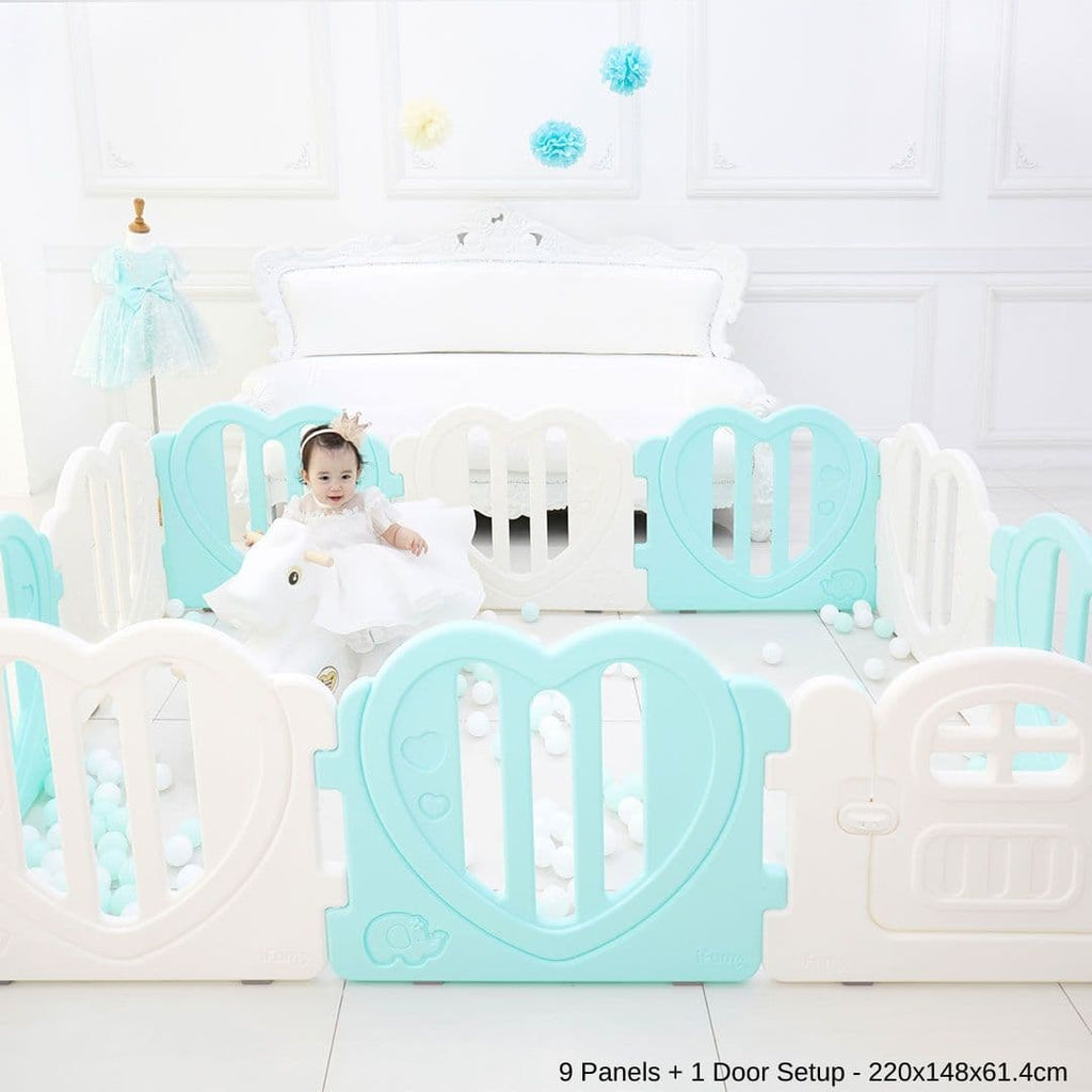 LOVE U Baby Play Yard with Door Set - Mint ($280)