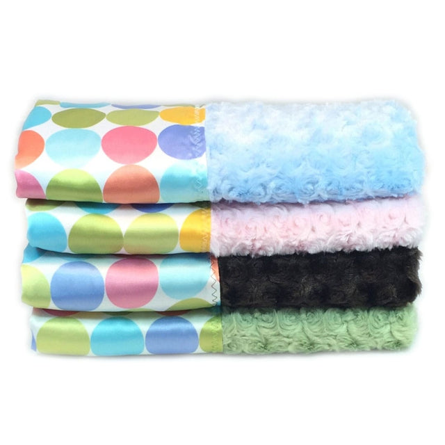 Pastel Dots Baby Blankets come in 4 colours