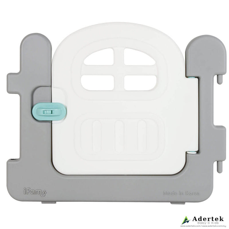 Baby play yard door with small window and lock in white and grey colour.