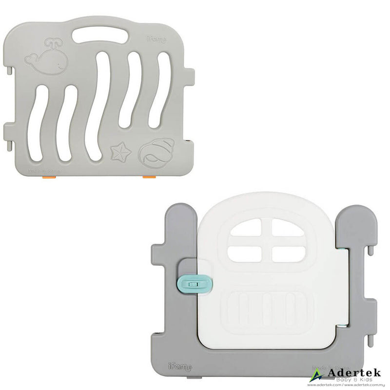 2 piece baby play yard door white with side panel in grey colour.
