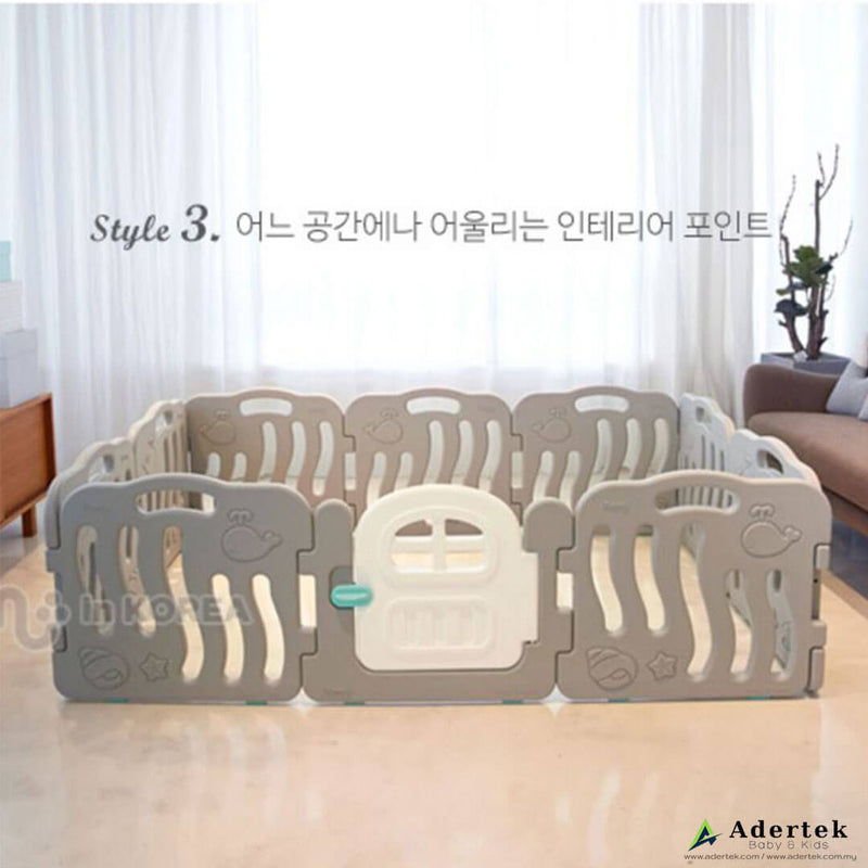 10 piece baby play yard in white and grey colour with door set in a living room.