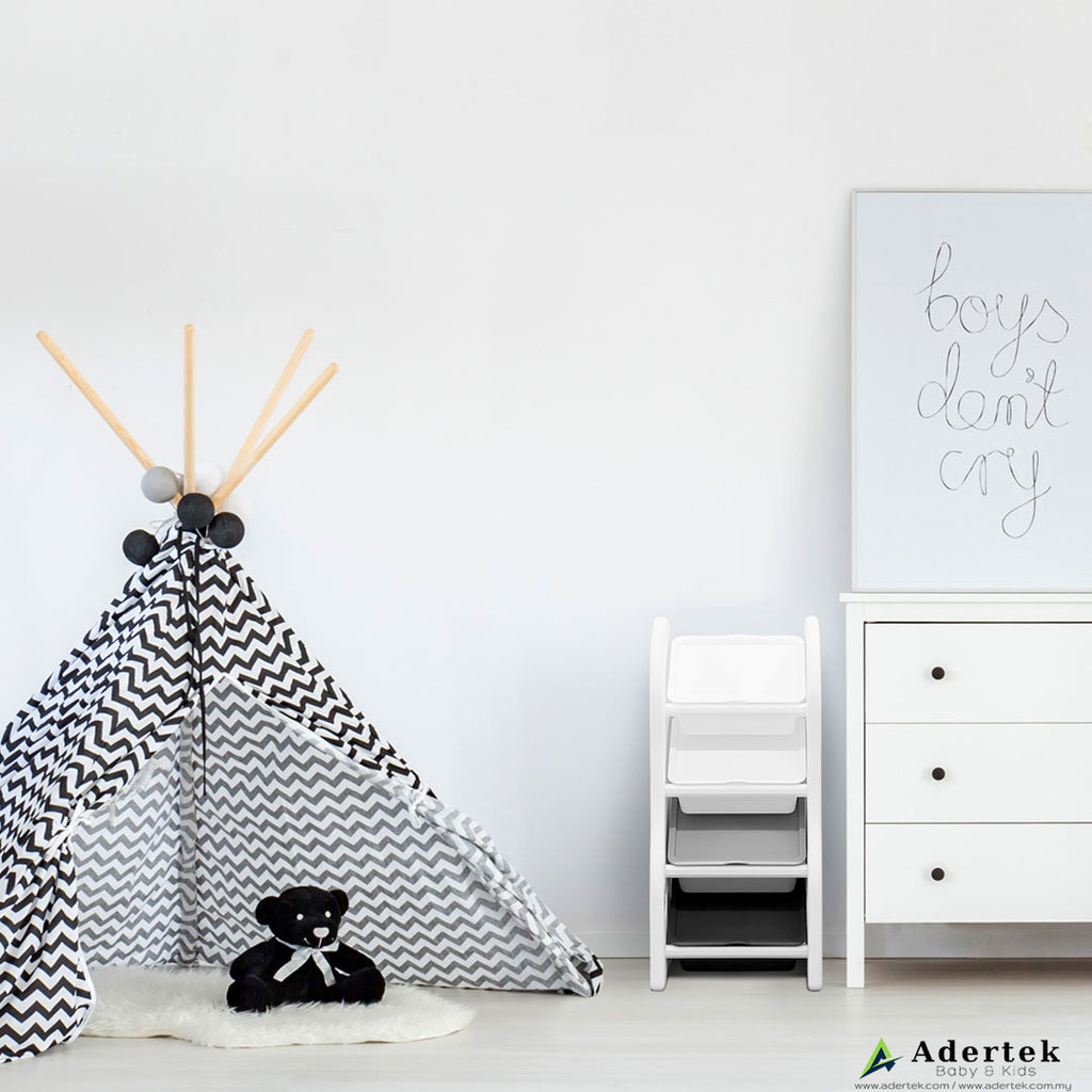 4-level kid's toy storage organiser in white with 4 storage boxes in a boy's room beside a tepee.