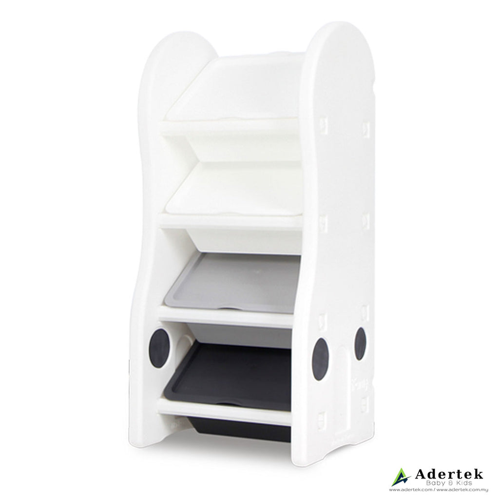 4-level kid's toy storage organiser in white with 4 storage boxes.