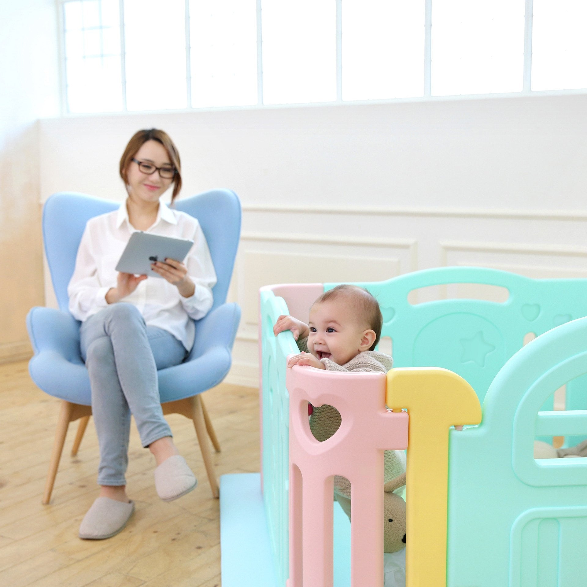 (Pre-Order) Marshmallow Baby Play Yard - Small (mats not included) - IFAM (Made in South Korea) - Adertek Lifestyle