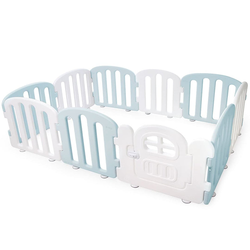 Baby play yard in white and cream blue with door and lock.