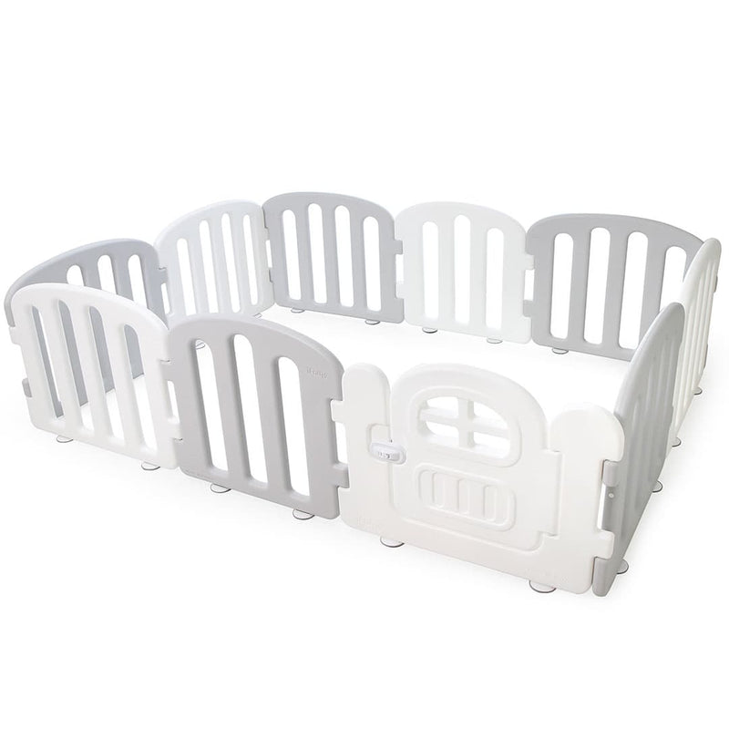 Baby FIRST Play Yard with Door Set (10pcs 207x147cm) - Grey+White