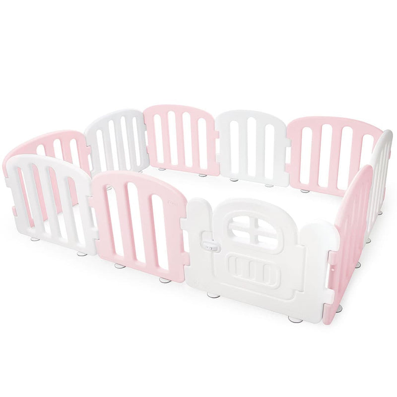 Baby FIRST Play Yard with Door Set (10pcs 207x147cm) - Pink+White
