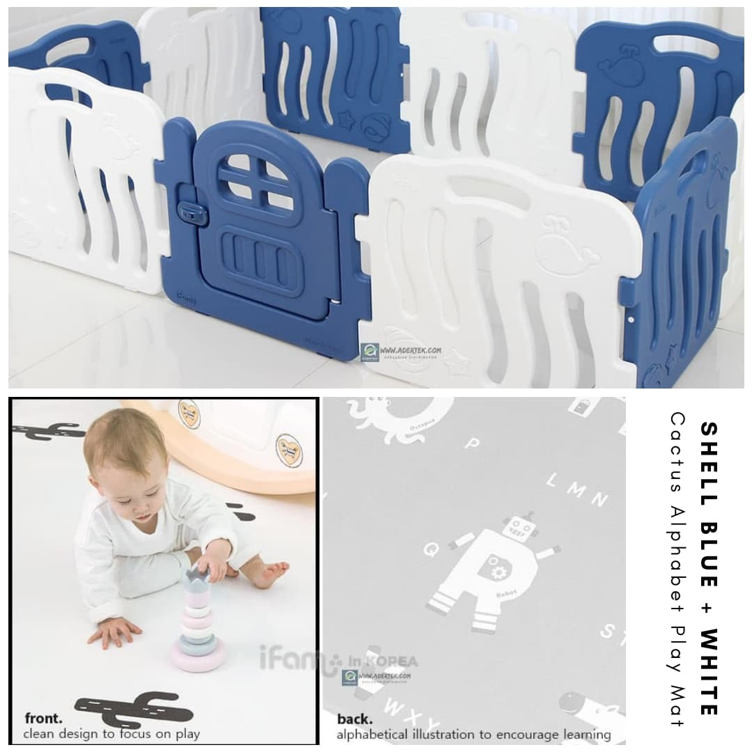 Shell Baby Play Yard + Cactus Alphabet Play Mat Bundle - Deep Blue+White
