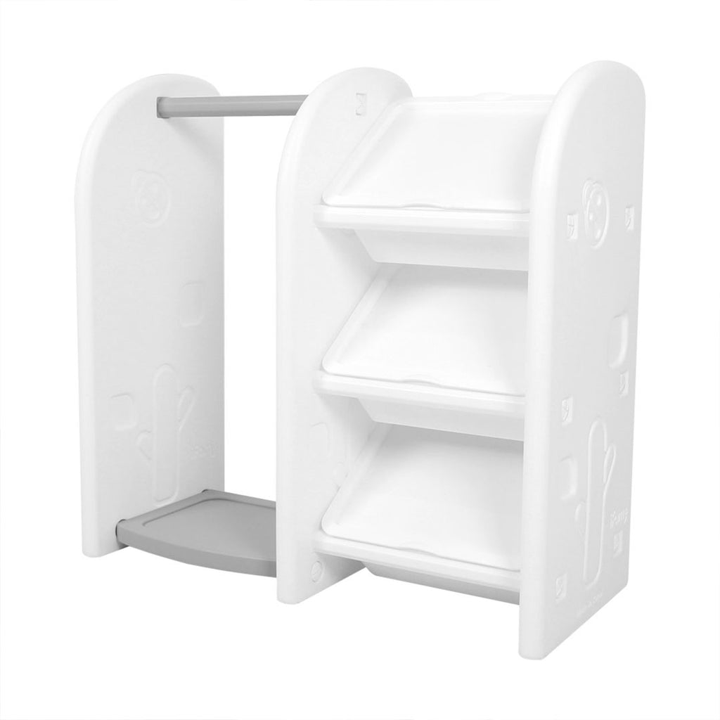 3-level children's toy storage with hanger organiser.