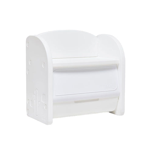 Children's storage organiser in white with smooth curves.