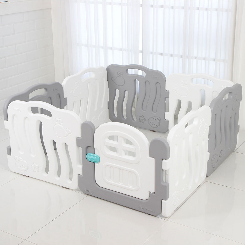 Shell Baby Play Mat + Play Yard Bundle (Grey+White 8pcs set)