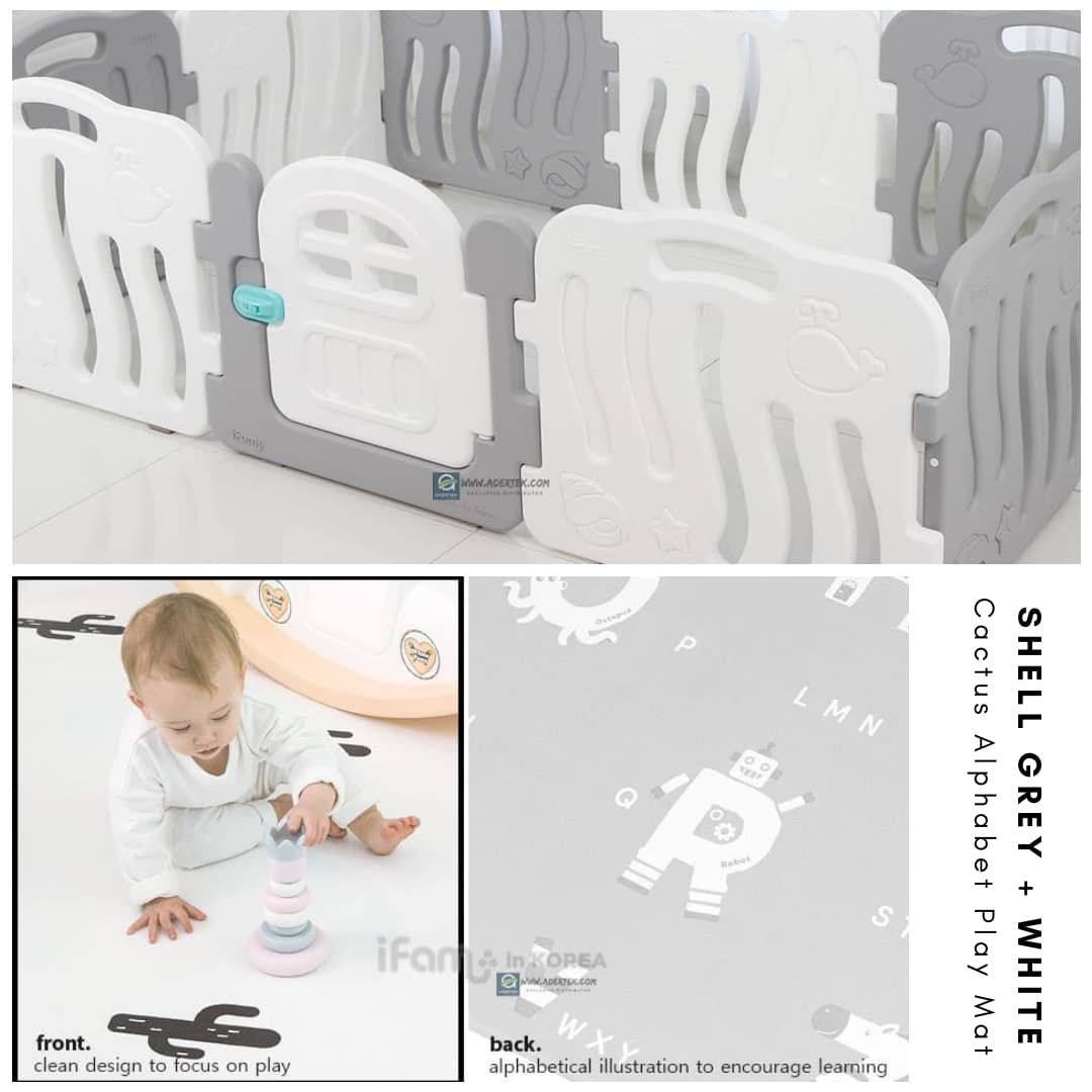 Shell Baby Play Yard + Cactus Alphabet Play Mat Bundle - Grey+White