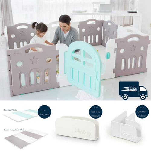 Marshmallow Plus Baby Play Yard Bundle comes with full set safety holders for a safe & secure play environment.