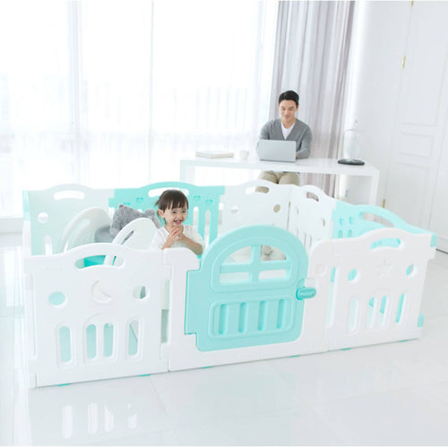 Marshmallow Plus Play Yard comes in popular Mint + White setup with door