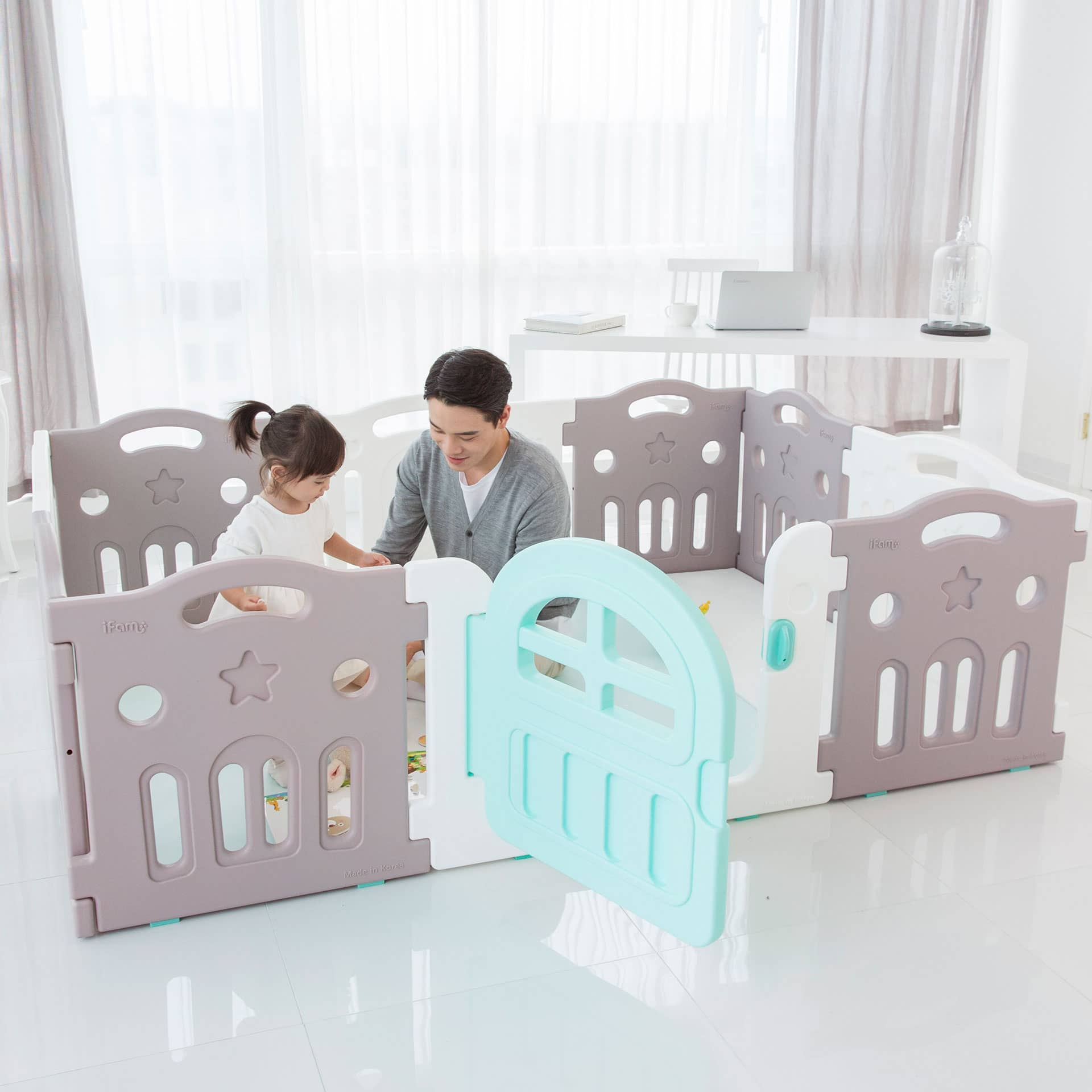 Marshmallow Plus Play Yard is the biggest IFAM play yards for parents and kids to play inside.
