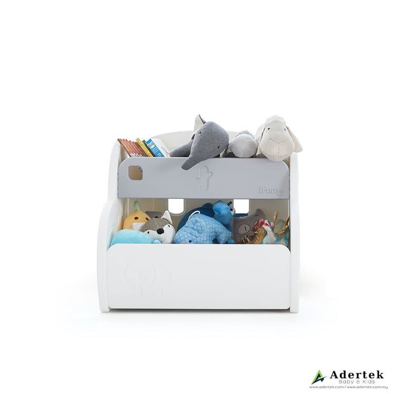 Kid's toy storage organiser packed neatly with soft toys and children's books.