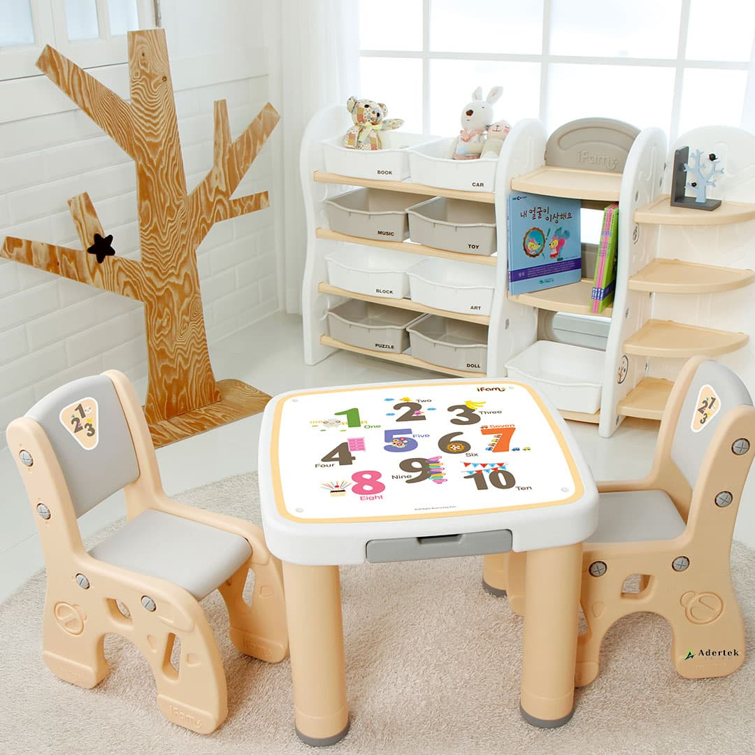 (Pre-Order) Marshmallow Childrens Table & Chairs - Numbers