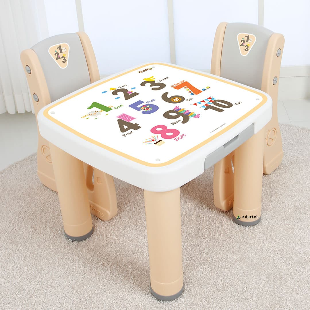 Each set consists of 1 table and 2 chairs in beige white colour combination