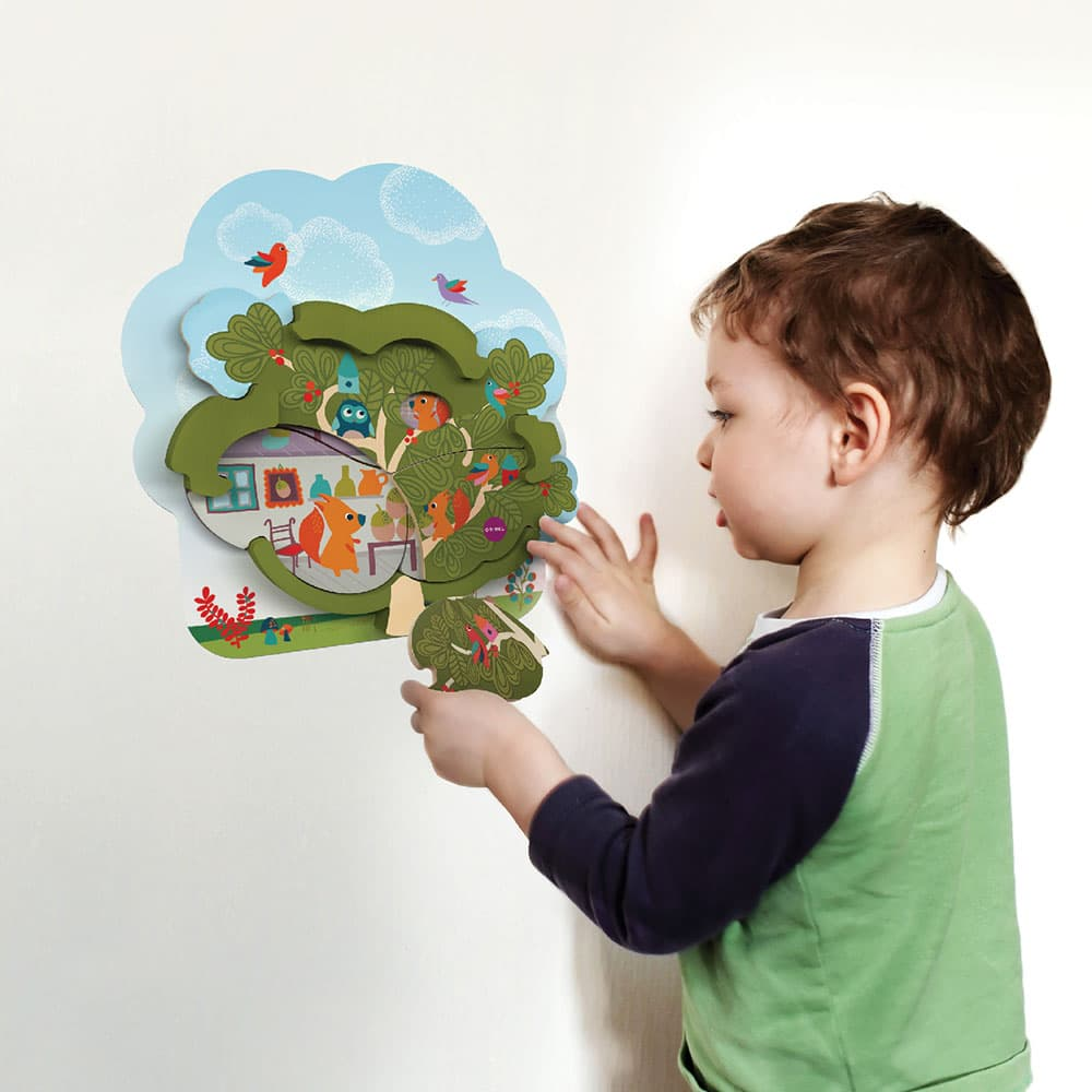 VertiPlay™ Mr. Squirrel's House - Two Layer Jigsaw Puzzle for toddler and older kids