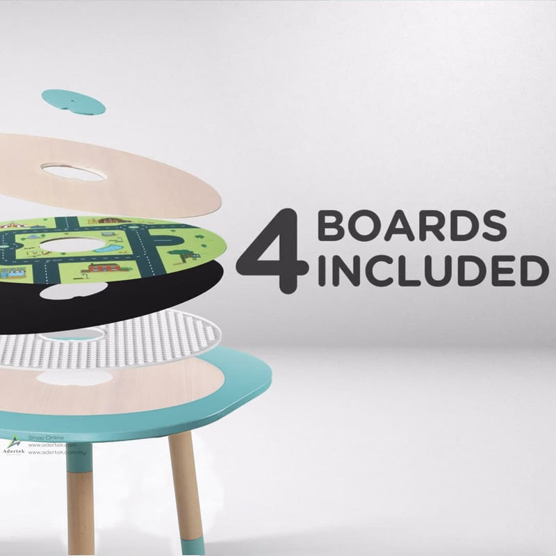 Multi-functional kids table with 4 boards.