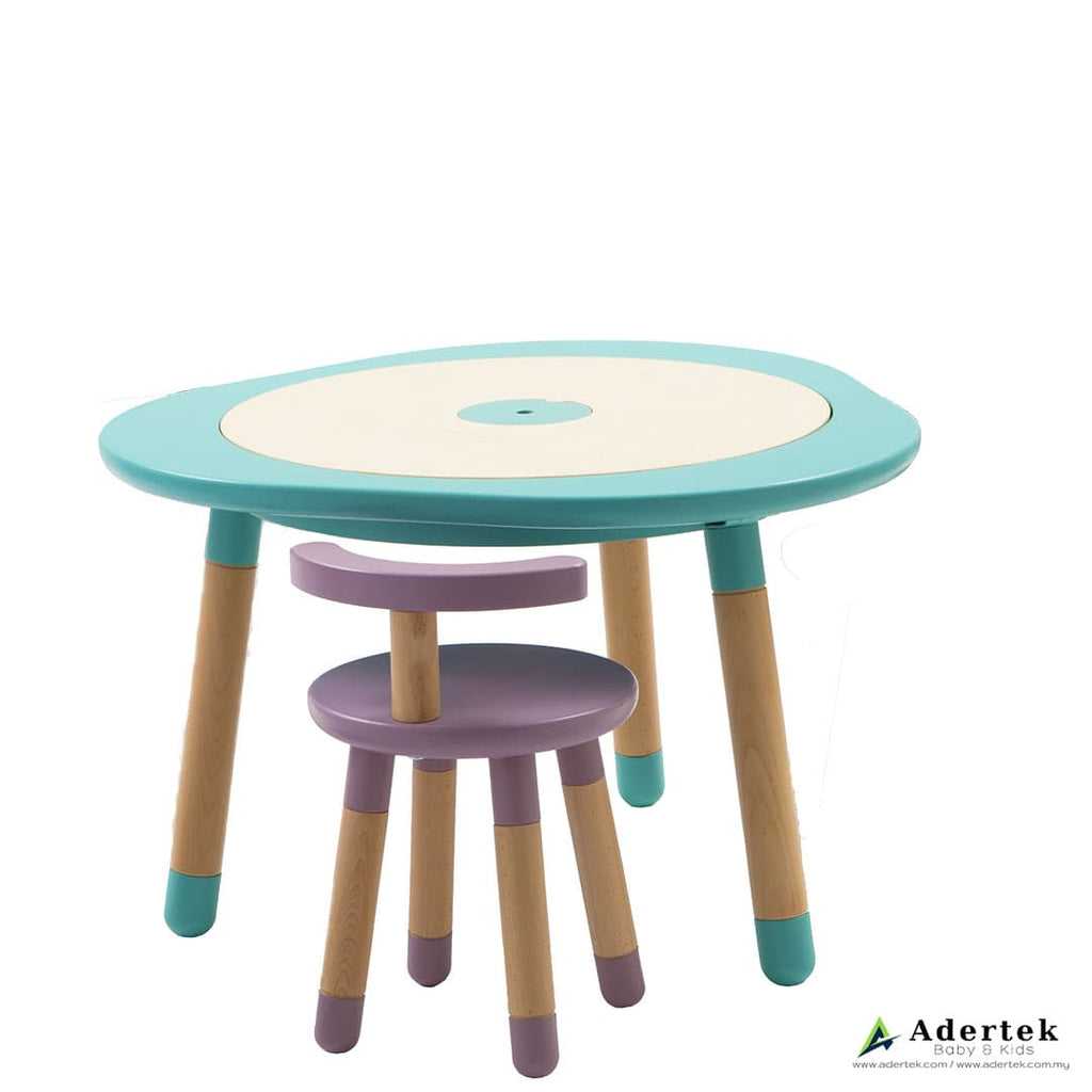 Kid's table in mint with kid's chair in mauve colour.