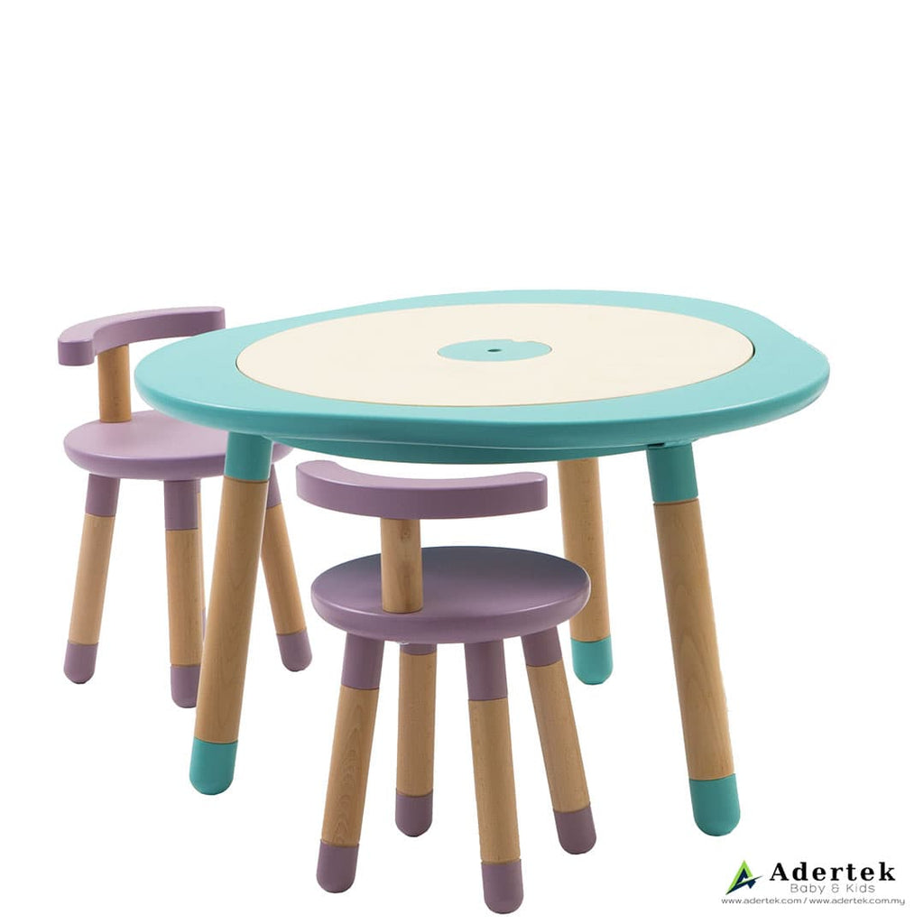 Kids table in mint colour with 2 kids chairs in mauve colour.