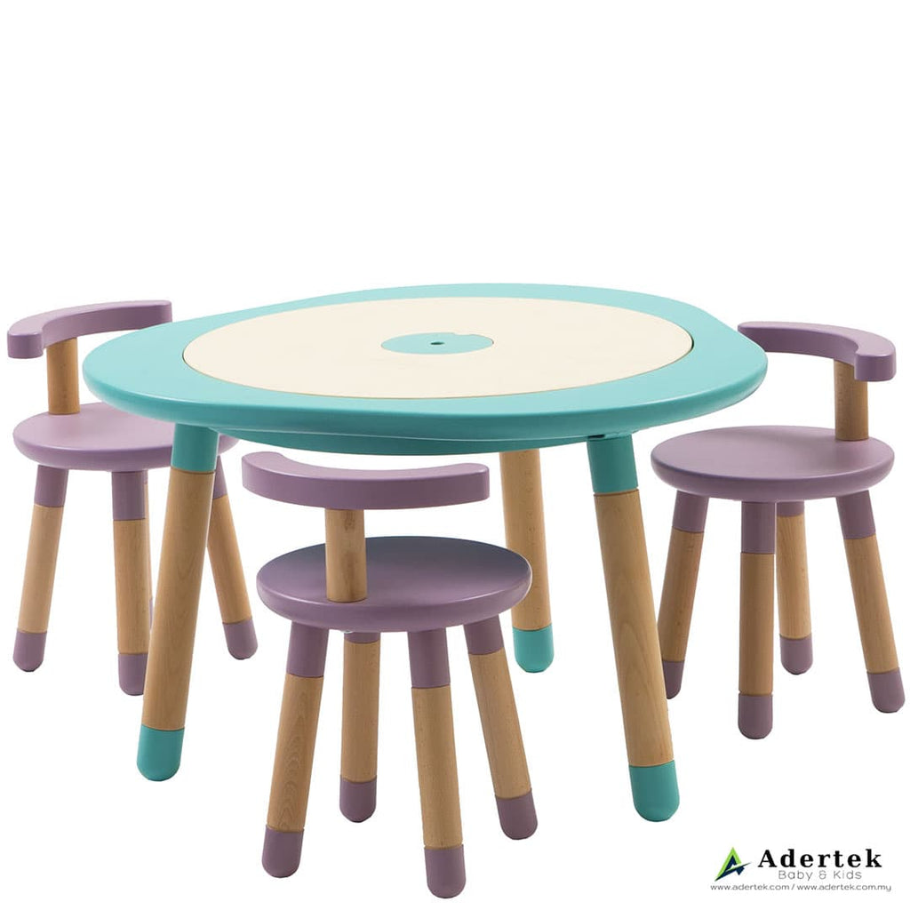 Kids table in mint colour with 3 kids chairs in mauve colour.