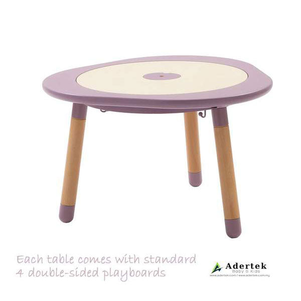 Multi-functional kids table with 4 double-sided boards in mauve colour.