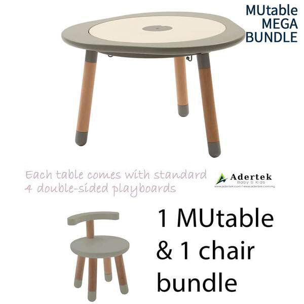 MUtable Bundle - Children Activity Play Table + 1 Chair (5% OFF) - Dove Grey