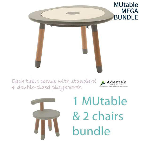 MUtable Bundle - Children Activity Play Table + 2 Chairs (5.5% OFF) - Dove Grey