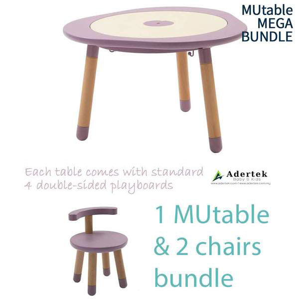Kids table with 2 kids chairs in dove mauve colour.