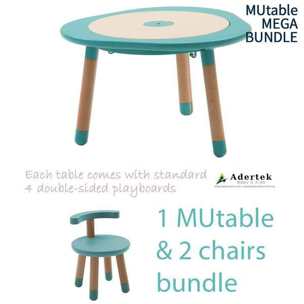 Kids table with 2 kids chairs in mint colour.