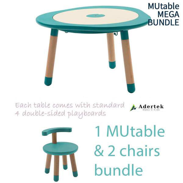 Kids table with 2 kids chairs in tiffany colour.