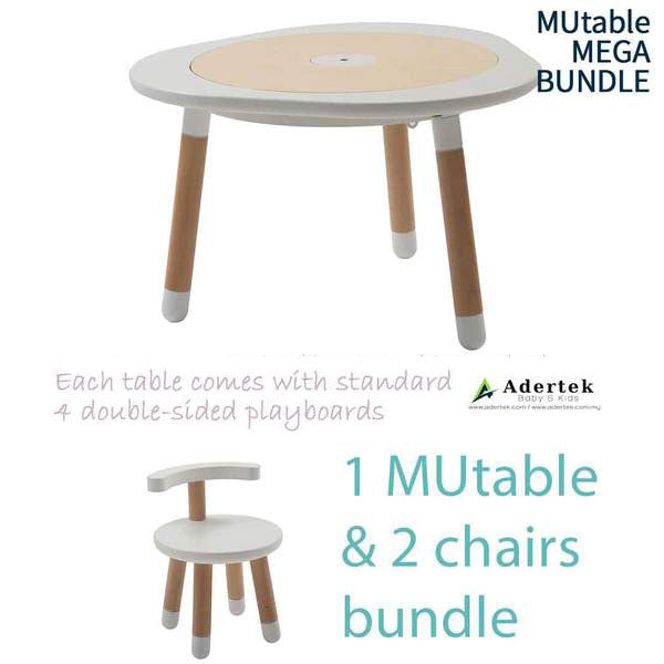 MUtable Bundle - Children Activity Play Table + 2 Chairs (5.5% OFF) - White