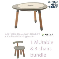 MUtable Bundle - Children Activity Play Table + 3 Chairs (6% OFF) - Dove Grey