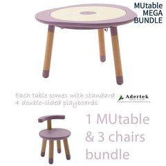 MUtable Bundle - Children Activity Play Table + 3 Chairs (6% OFF) - Mauve