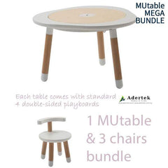 MUtable Bundle - Children Activity Play Table + 3 Chairs (6% OFF) - White