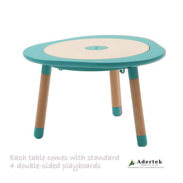 Multi-functional kids table with 4 double-sided boards in mint colour.