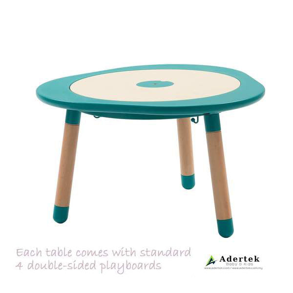 Multi-functional kids table with 4 double-sided boards in tiffany blue colour.