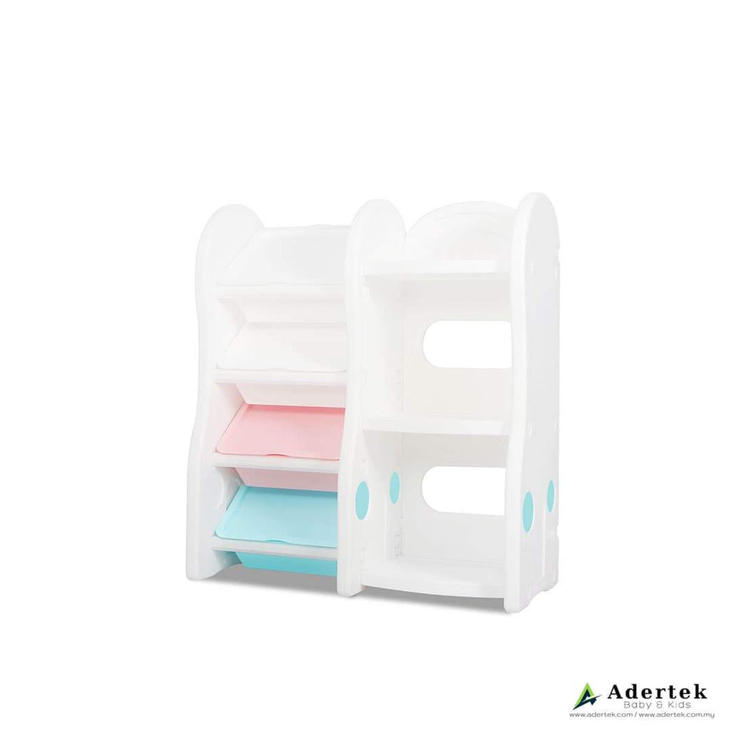 4-level Kid's toy storage organiser with kid's bookshelf in white and pastel colours.