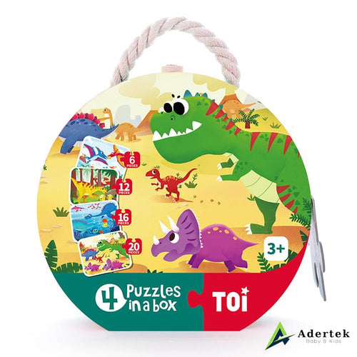 TOI 4-in-1 Puzzle Dinosaurs Front View