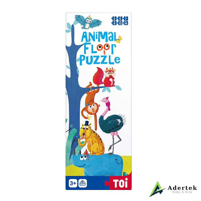 Animal Floor Puzzle With Height Chart Front View
