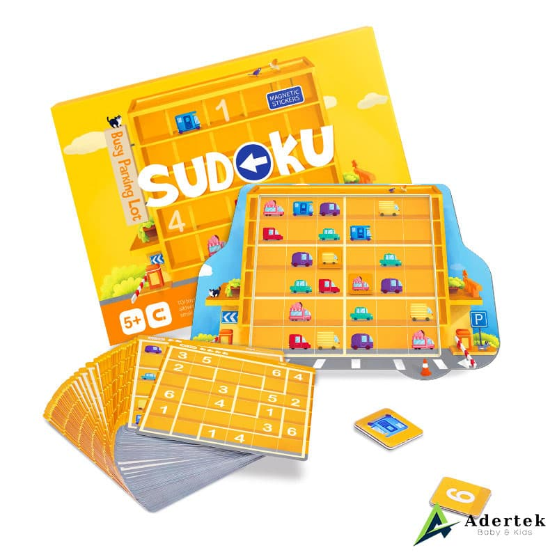 Contents of Magnetic Sudoku Game Busy Parking Lot Box Puzzle Game Cards