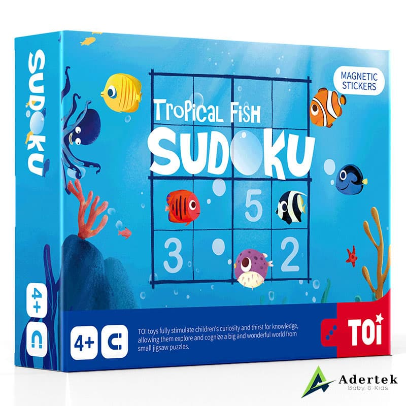 Magnetic Sudoku Game Tropical Fish Front View